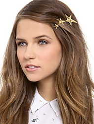 Women Western Style Alloy Pentagram Hair Pin With Casual Headpiece Gold
