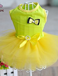 Cat / Dog Dress Black / White / Blue / Yellow / Rose Dog Clothes Summer Bowknot Cosplay