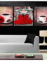 impressões poster do copo de café da arte da flor aumentou imagem casa imagens decorativas imprimir em canvas 3pcs / set (sem moldura)