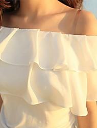 Women's Sexy/Casual Ruffle Layered Micro-elastic Short Sleeve Short Blouse (Chiffon)