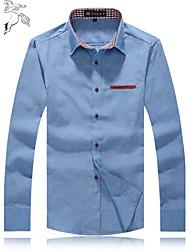 Chemise Pour des hommes Couleur plaine Décontracté / Travail / Formel / Grandes Tailles Mélange de Coton / Toile de jean Manches longues