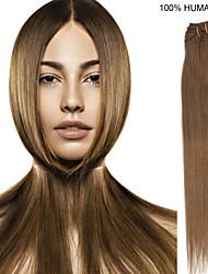 14inch 10st / set 100g clip-in hair remy human hair extensions 9 kleuren voor vrouwen schoonheid