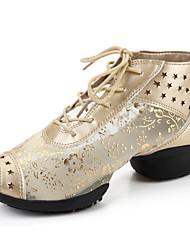 Non Customizable Women's Dance Shoes Dance Sneakers / Lace Cuban Heel Black / Silver / Gold