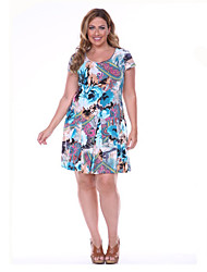 Women's Plus Size Floral Party Dress Large Size Print Knee Dress Club Dress