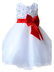 Elegant Flower Girl Dresses Princess Wedding Party / Pageant Kid Prom Communion Dresses with Bow knot Belt for 2~10 Yrs