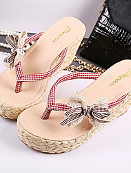 Women's Shoes Faux Leather Wedge Heel Wedges/Round Toe Sandals Casual Black/Red
