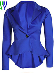 Women's New One Button Fishtail Irregular Solid Slim Blazer
