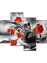 VISUAL STAR®Red Flower Modern Canvas Art Painting High Quantity Wall Picture Ready to Hang