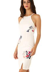 Women's Vintage Sexy Bodycon Print Plus Sizes Micro  Elastic Sleeveless Knee-length Dress (Cotton/Linen)
