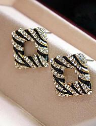 Stud Earrings Rhinestone Alloy Screen Color Jewelry 2pcs