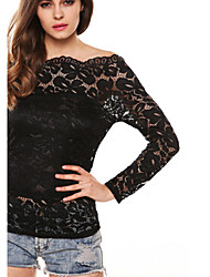 Moon Sunday Women's All Match Lace Solid Color Off the Shoulder Shirt