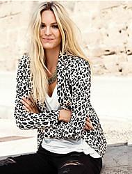 CEN     Women's Leopard Multi-color Coats & Jackets , Party / Work Asymmetrical Long Sleeve