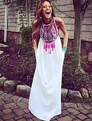 Women's Loose Printing Sleeveless Long Dress