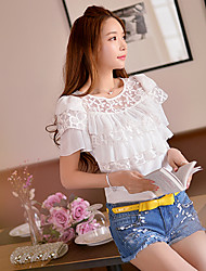 Pink Doll®Women's Round Neck Casual Lace OL Mesh Shirt