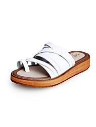 Damen Schuhe Mikrofaser Frühling Sommer Herbst Komfort Flacher Absatz Schnalle Für Normal Kleid Weiß Schwarz Braun