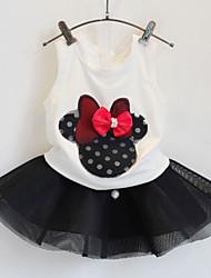 Cartoon Bow Vest + Mesh Veil Skirt Children Suits(2 Pcs)
