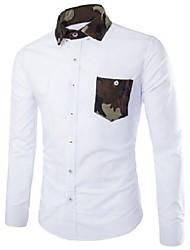 manga longa camisa dos homens regular, mistura de algodão casual / trabalho / formal de pura