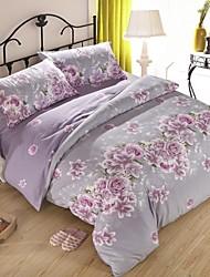 pourpre tissu épais sablé florale pour ensemble de 4pcs reine / taille de jumeaux automne / hiver