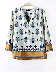 Women's Fashion Summer Casual/Print Inelastic ¾ Sleeve Regular Blouse Shirts (Chiffon)