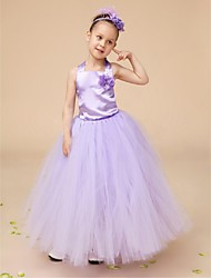 Flower Girl Dress Floor-length Satin/Tulle Ball Gown Sleeveless Dress(Headpiece And Corsage Include)
