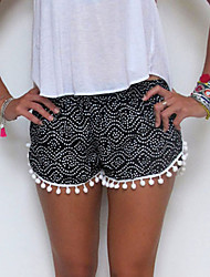 Women's Print Red / Black Shorts Pants,Casual / Day / Cute