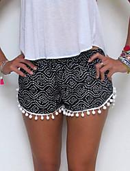 Women's Print Red/Black Shorts Pants , Casual/Cute Tassel