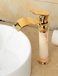 ти-PVD отделка латунь нефрита водопад золотой ванной кран раковины