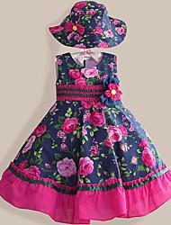 Girls Dress + Hat  Flower Print Party Pageant Princess Fashion Dresses (Cotton)