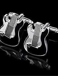 Men's Electrical Guitar Rock Musical Band Blk Shirt Cufflinks