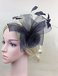 Women Feather/Net Rose Flowers With Wedding/Party Headpiece Black