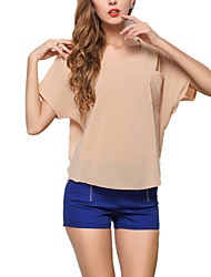 Women's Loose Candy Color Chiffon Blouse Summer Tops T-shirt Bat Sleeve Pullovers
