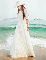 Women's Sexy Beach Cute Maxi Plus Sizes Inelastic Short Sleeve   Dress (Chiffon)