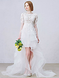 A-line Wedding Dress Asymmetrical Jewel Lace with