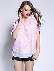 Summer Casual Loose Style Women Clothing Fashion Chiffon Bat Sleeve Print Blouse Shirt Tops