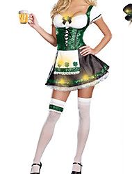Greem Oktoberfest  Maid Dress Halloween Costumes For Women (dress+hat)