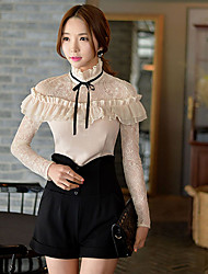DABUWAWA Women's Lace/Work Stand Long  Lace Sleeve Ruffles  and Bow Tops & Blouses (Elastic/Polyester)