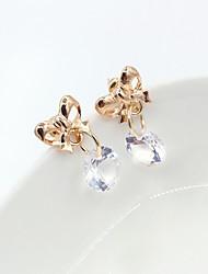 Earring Drop Earrings Jewelry Women Alloy / Cubic Zirconia / Gold Plated 1set Gold / White