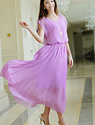 Women's Going out Cute Chiffon / Swing Dress,Solid Round Neck Midi Sleeveless Blue / Pink / White / Black / Purple Polyester Summer