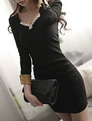 Women's Sexy/Bodycon/Casual/Party/Work Micro-elastic Long Sleeve Above Knee Dress (Cotton)