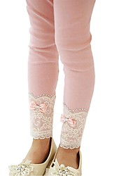 Girl's Spring Fall Lace Tights Bottom Cotton Flax Pants Party Leggings Leggings (Cotton)
