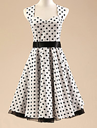 Women's Halter 50s Vintage Polka Dots Rockabilly Swing Dress(Not Include Petticoat)