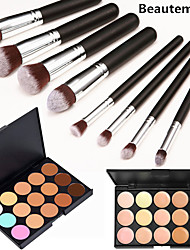 8PCS Silver Black Handle Cosmetic Makeup Brush Set&15 Colors Natural Concealer(2 Color Concealer Choose)