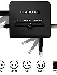 headfore tout-en-un des ports double chargeur de téléphone pour toute iphone de périphérique usb 4 / 5s / 5g / 6/6 + samsung s4 / S5 / S6