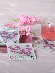Cherry Blossom Love Glass Coaster