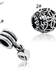 euner® новые стерлингового серебра 925 пробы прелести оригинальные подвески сердце качает прелести вписывается европейских поделки шарм
