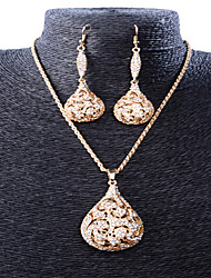 May Polly Retro style hollow pattern Diamond Necklace Earrings Set Party drops