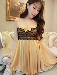 Roben Besonders sexy Anzüge Nachtwäsche Patchwork Spitze Polyester Gelb