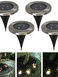 Pack of 4 Warm White Solar Ground Light for Garden Landscape Lighting Pathway Stairway