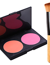 Pro Party 2 Colors Face Blush Blusher Powder Palette + 1PCS Blush Brush