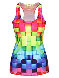 PinkQueen® Women's Polyester/Spandex Tetris Printed Tank Top